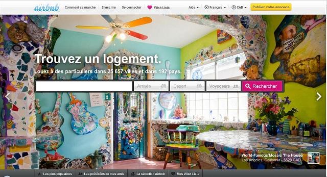 Airbnb hébergement page d'accueil