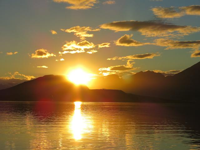 Coucher de soleil sur la baie d'Ushuaia