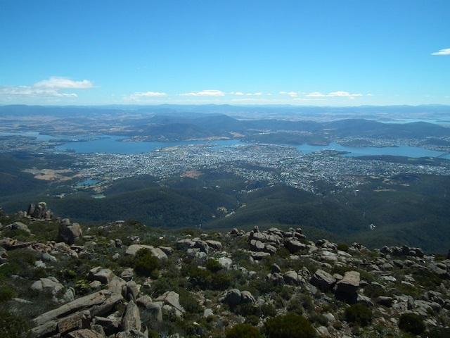 Hobart depuis le sommet du Mount Wellington
