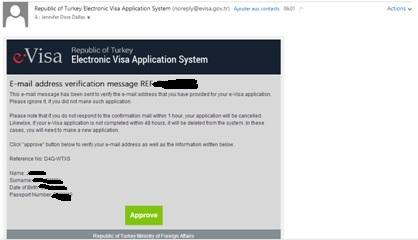 Confirmation courriel - e-visa - Turquie