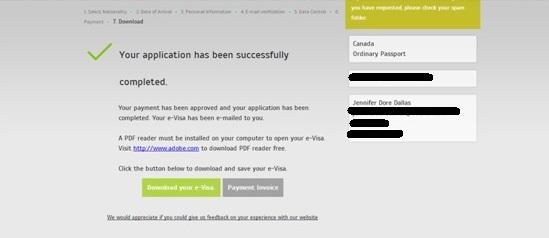 Confirmation de paiement - e-visa - Turquie