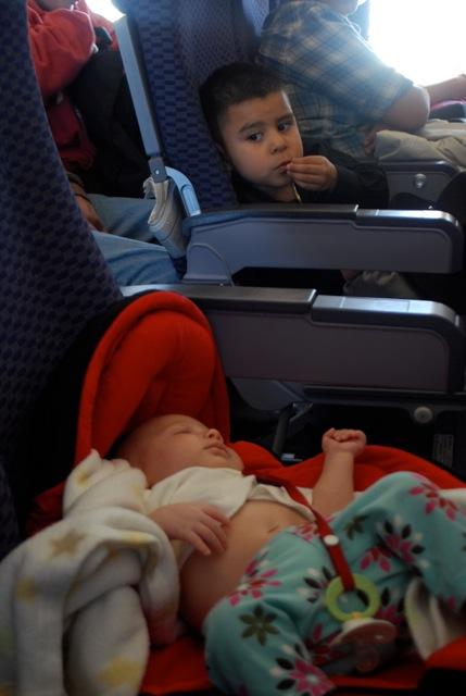 Roukie bébé dans l'avion