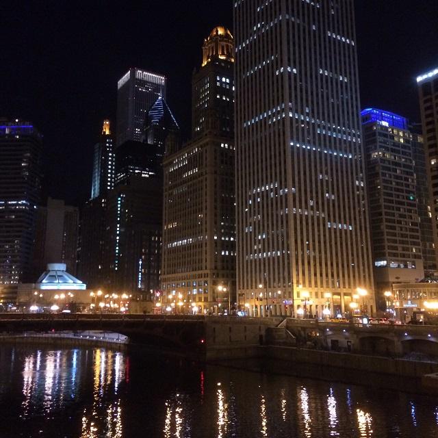 Vue de nuit - Chicago, Illinois