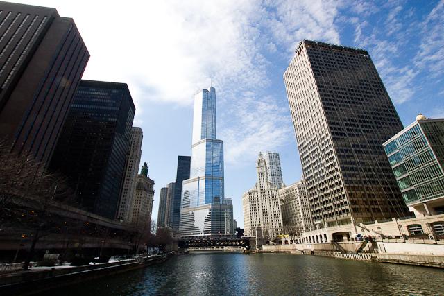 Vue du lac Michigan sur la Chicago River - Chicago, Illinois