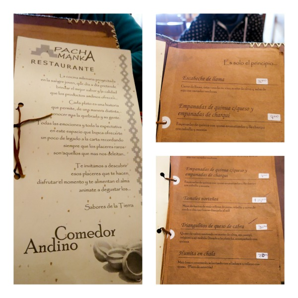 Menu du Pacha Manka - Humahuaca - Argentine