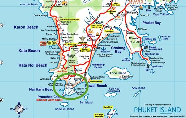 Carte du sud de Phuket