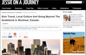 Jessie on a Journey - Solo Travel, Local Culture And Going Beyond The Guidebook in Montreal, Canada - 19 août 2014
