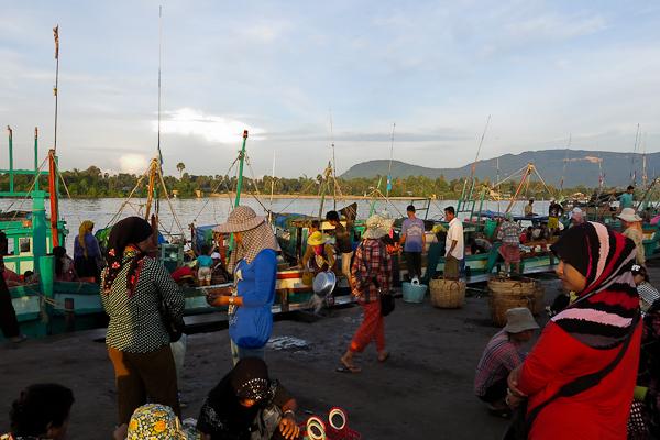 Marché aux poissons - Kampot, Cambodge