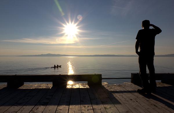 Quai public au coucher du soleil, Kamouraska