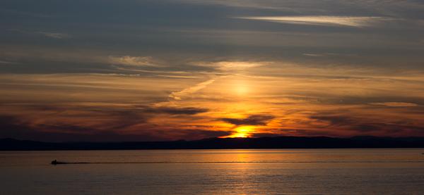 Teintes orangées du coucher de soleil de Kamouraska