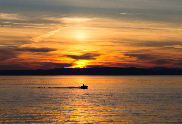 Un jetski au coucher de soleil, Kamouraska
