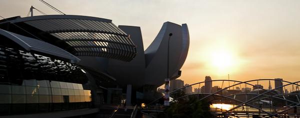 Coucher de soleil sur le centre de Singapour