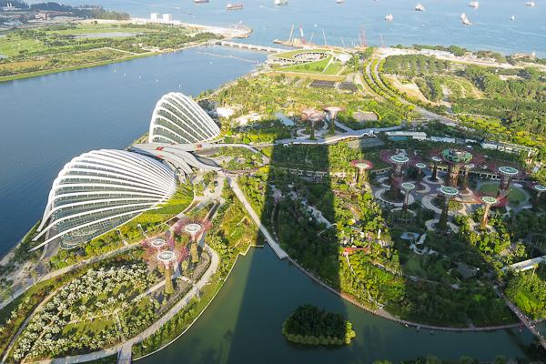 La vue de la terrasse d'observation du Marina Bay Sands - Singapour