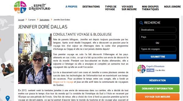 Jennifer Doré Dallas - Consultante voyage avec Esprit d'aventure