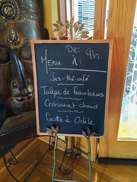 Menu déjeuner - Château Murdock - Chicoutimi - Saguenay-Lac-St-Jean