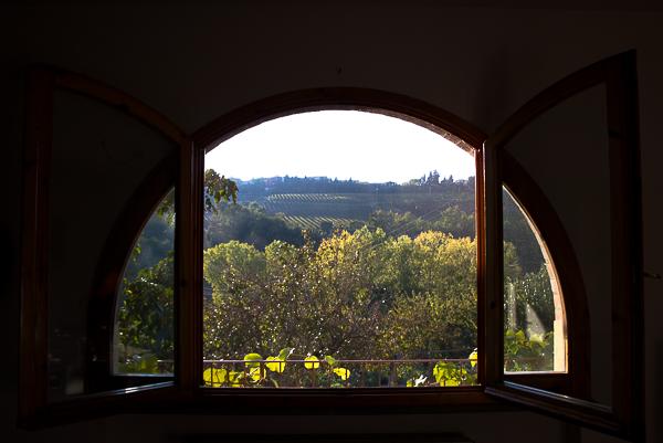 Vue de ma fenêtre en Toscane, Italie