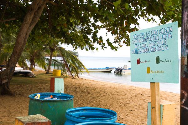 El reciclaje es común en Little Corn Island en Nicaragua
