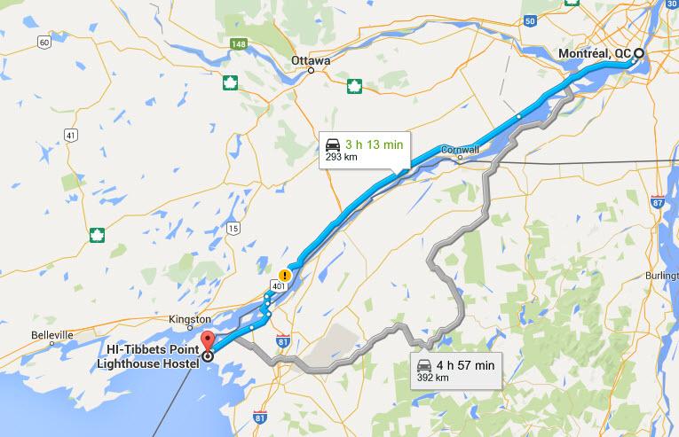 Carte Montréal-Cape Vincent