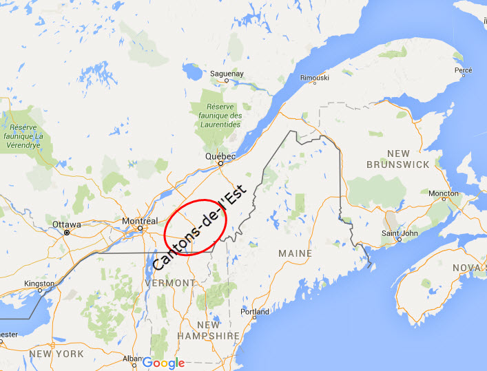 Carte du Québec - Cantons-de-l'Est