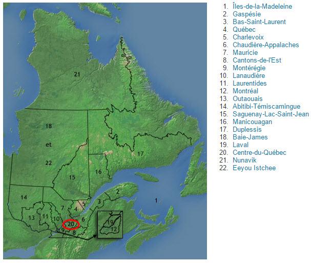 Carte du Québec - Centre-du-Québec