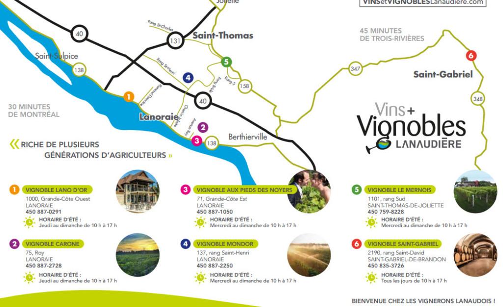 Carte des vignobles de Lanaudière