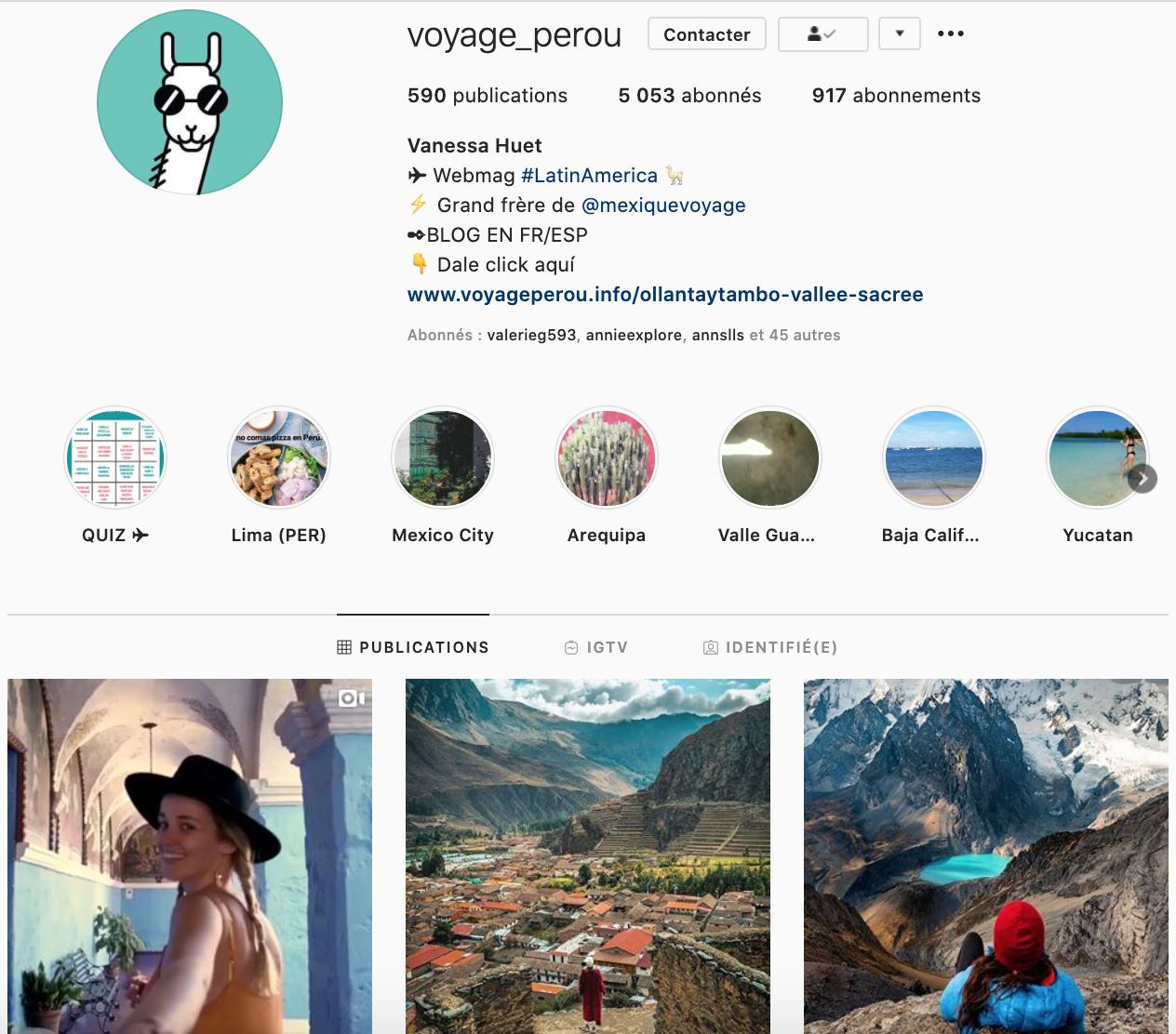 Voyage Pérou instagrammers favoris