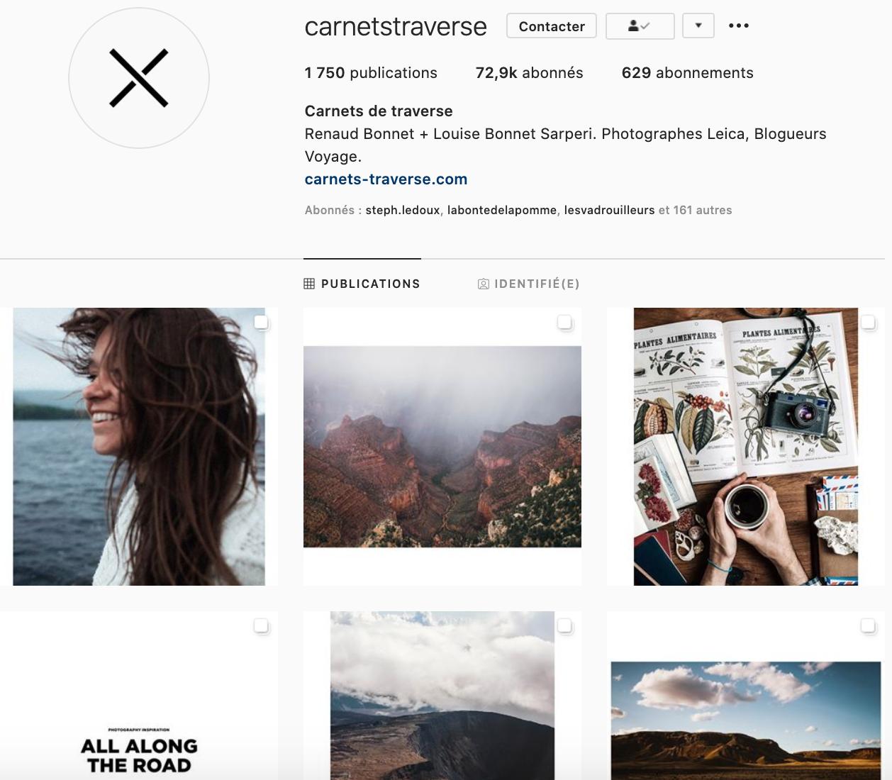 Compte Instagram de Carnets de traverse