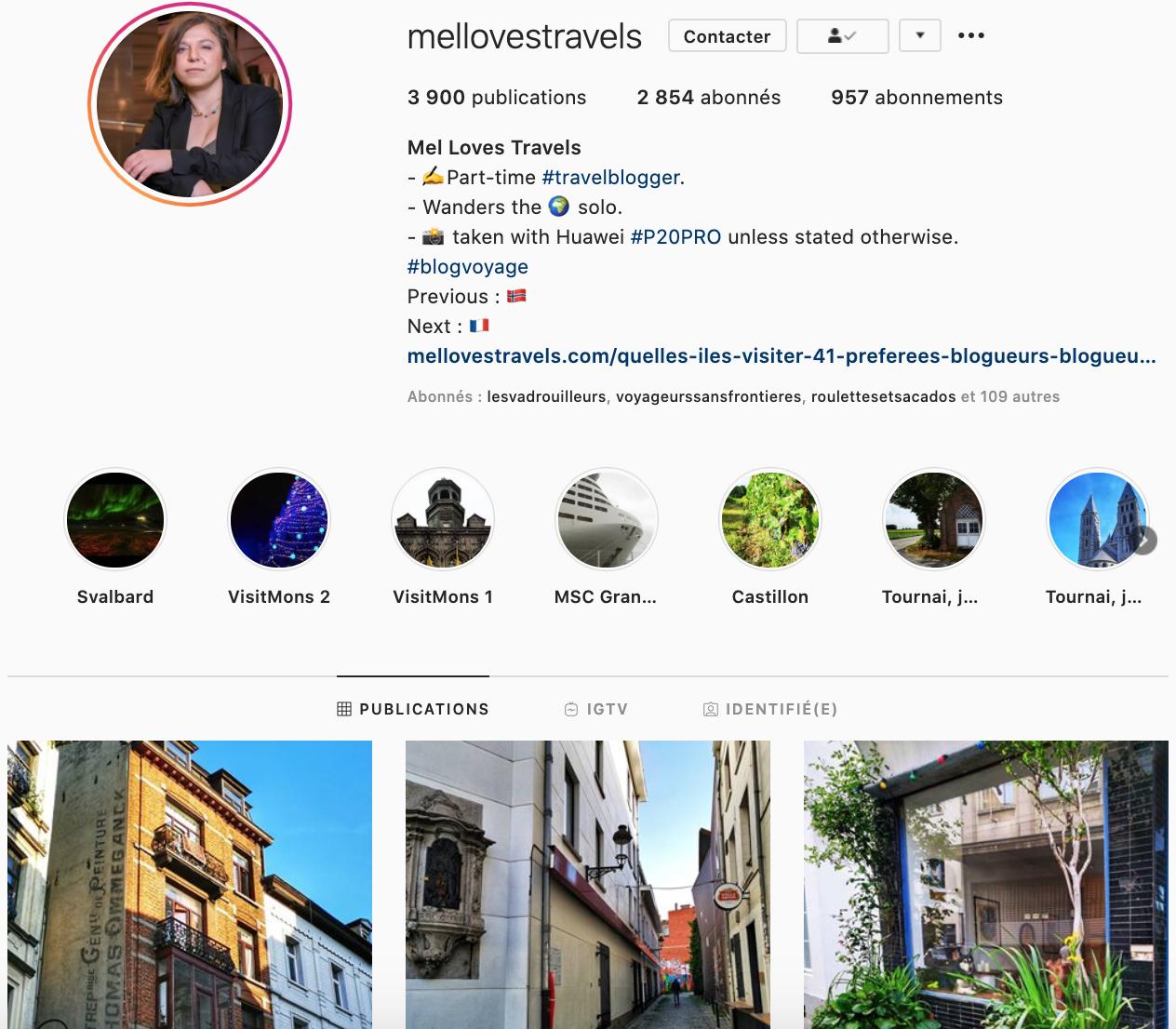 Page Instagram Mellovestravels