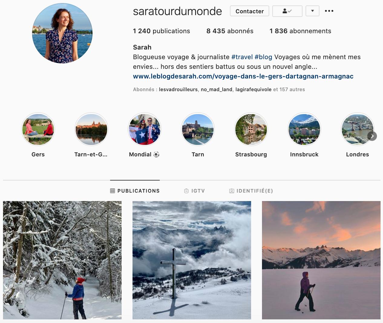 Saratourdumonde Instagrammers voyage à suivre