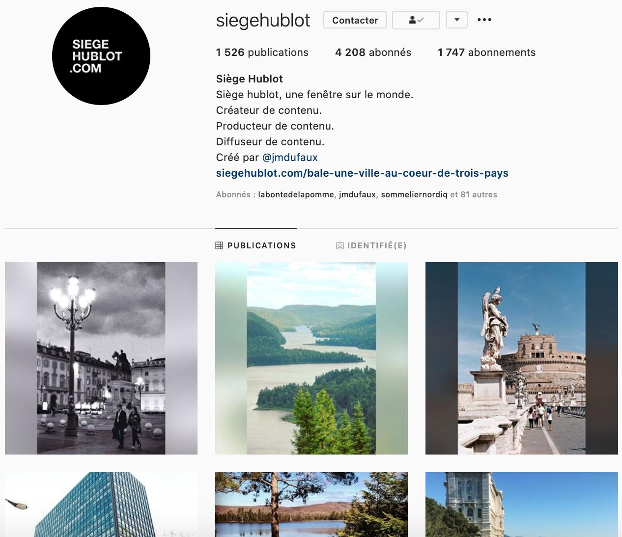 Siège hublot à suivre sur Instagram