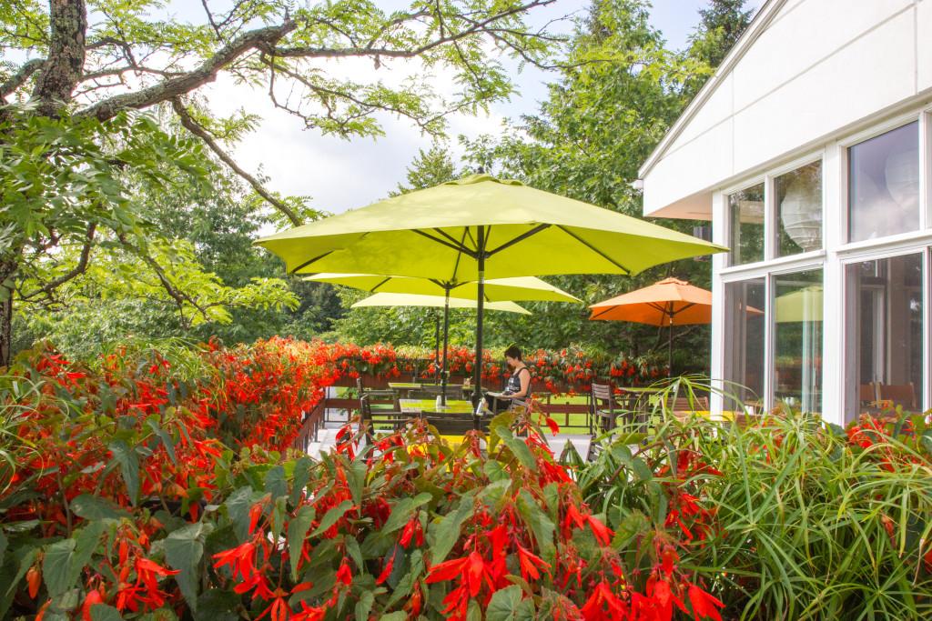 Terrasse ensoleillee du jardin botanique du Nouveau-Brunswick