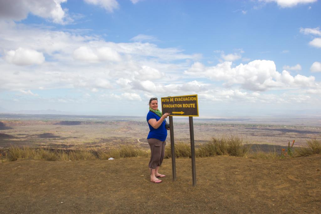 Anne au volcan Masaya