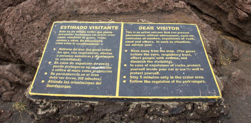Directives pour le volcan Masaya dangereux Nicaragua