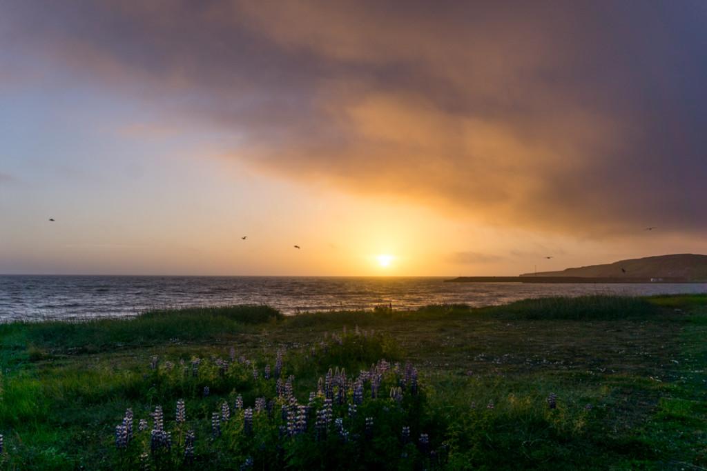 Soleil de minuit Blonduos Islande