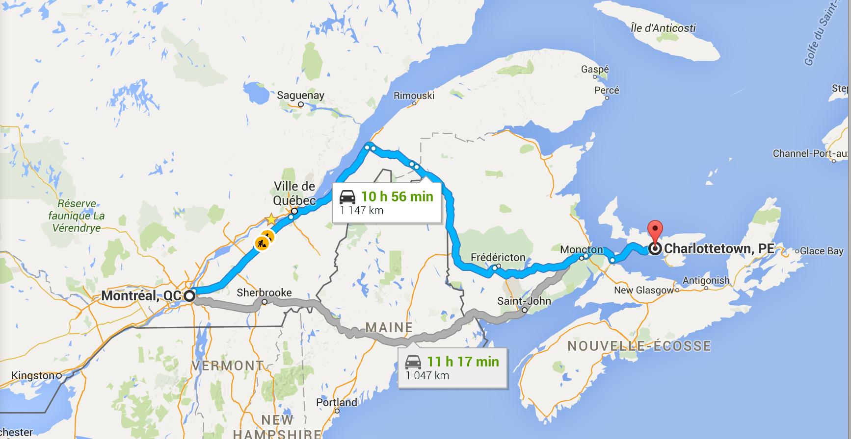 Trajet Montreal-Charlottetown en voiture pour un voyage à l'Île-du-Prince-Édouard