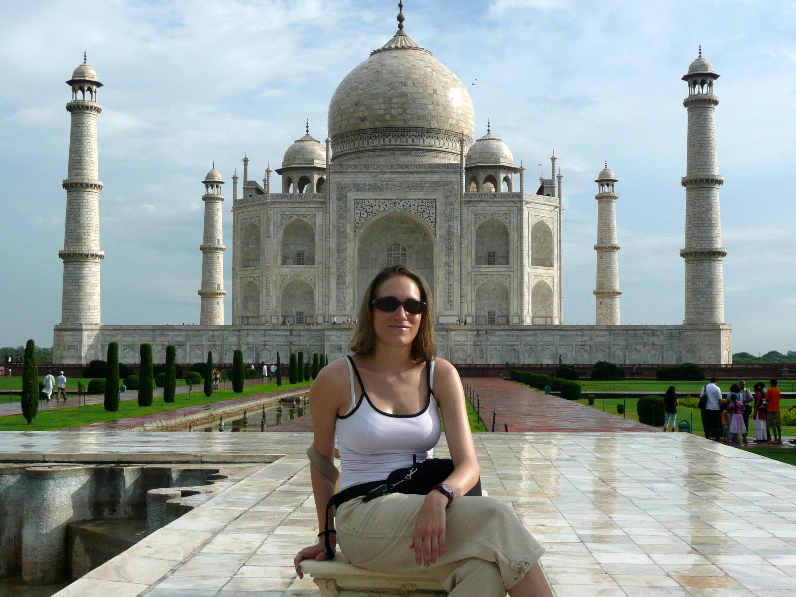 Emily Zanier au Taj Mahal en Inde