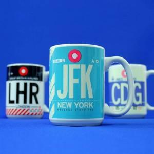 Mugs codes des aéroports LHR JFK CDG