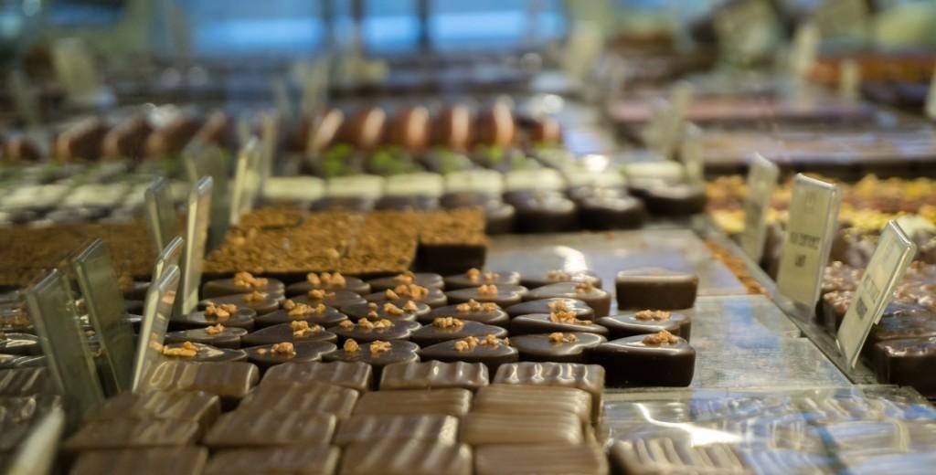 Étalage de chocolats chez Chocolat Chapon