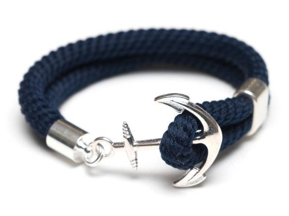 Bracelet ancre bleu marine