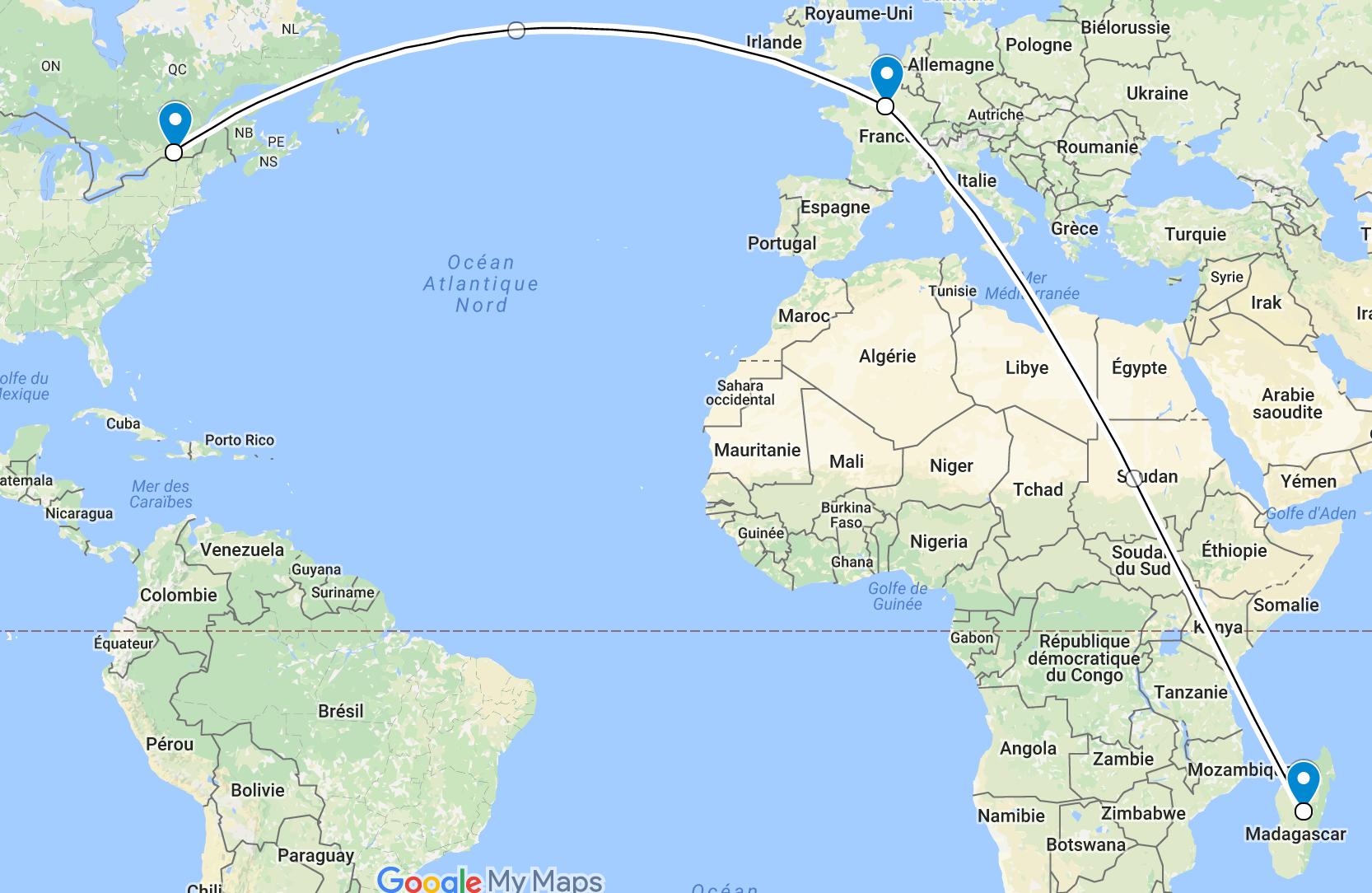 Carte d'itinéraire vers Madagascar avec Village Monde - Google Maps