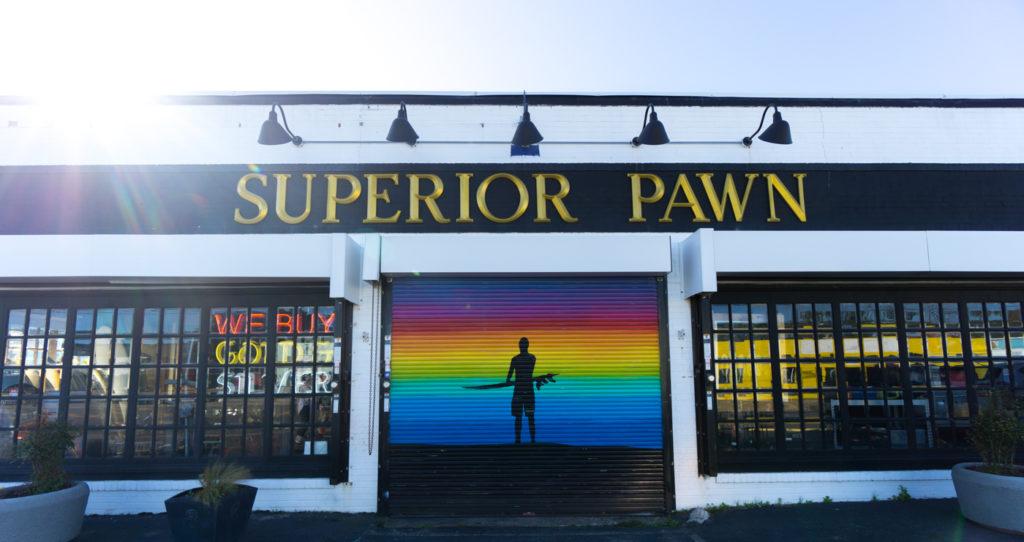 Boutique Superior Pawn - Street art dans le quartier hipster derrière le boardwalk et la plage