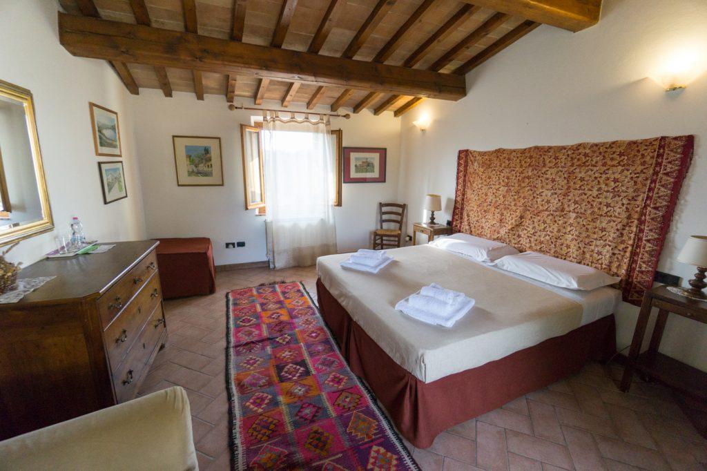 Une des chambres de la Casalta di Sotto en Toscane