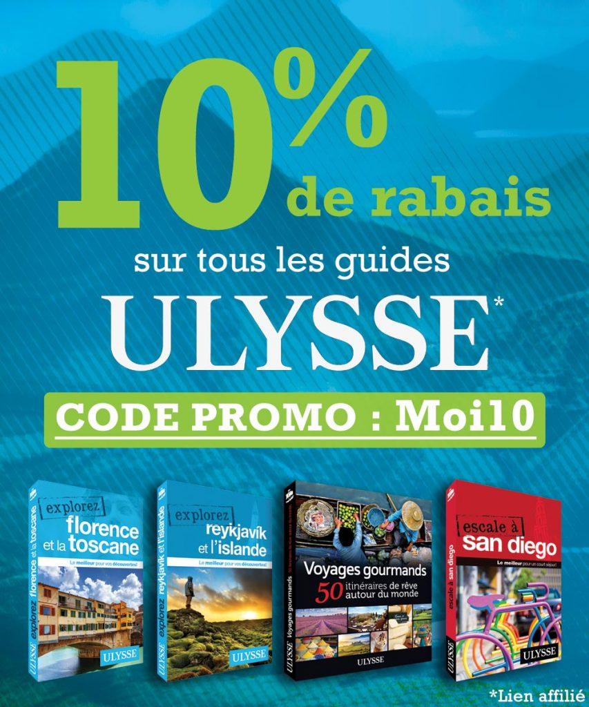Promotion - Rabais 10% chez Guides Ulysse - format carré