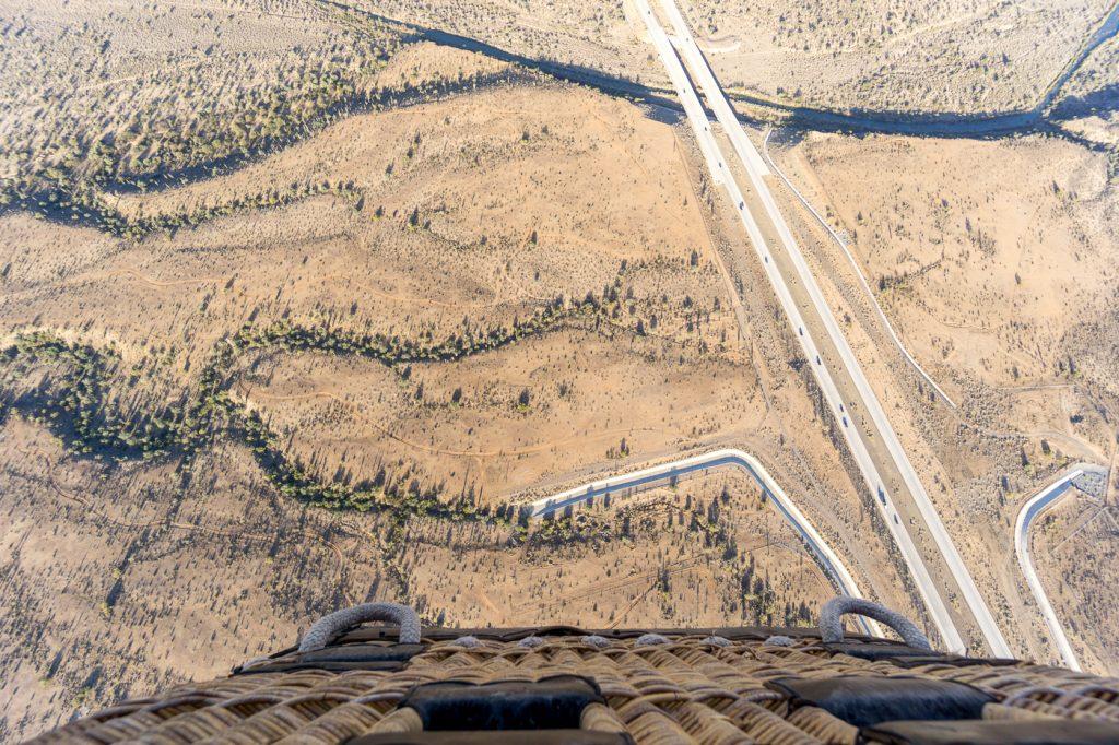 Vue de la montgolfière dans le désert du Sonora - Sud-ouest des États-Unis