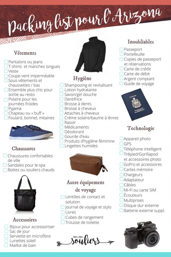 Packing list pour l'Arizona et Phoenix