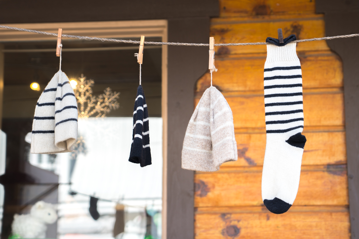 Chaussettes d'artisans de laine à Baie-St-Paul
