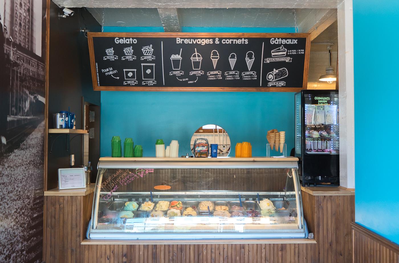 Comptoir à gelato du Savoroso au marché de la gare de Sherbrooke