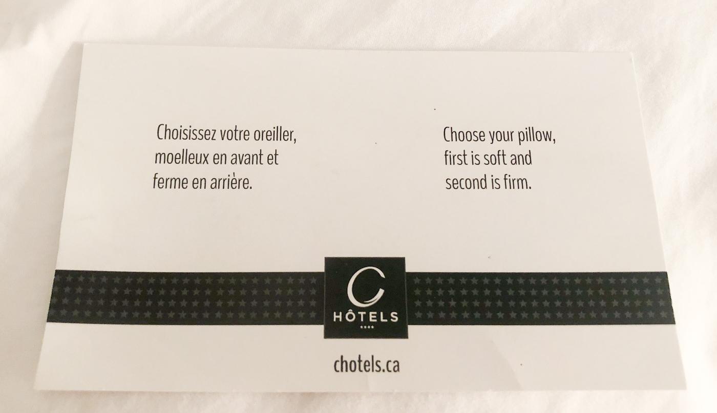 Choix d'oreillers de La Cache du Lac Champlain - C Hôtels