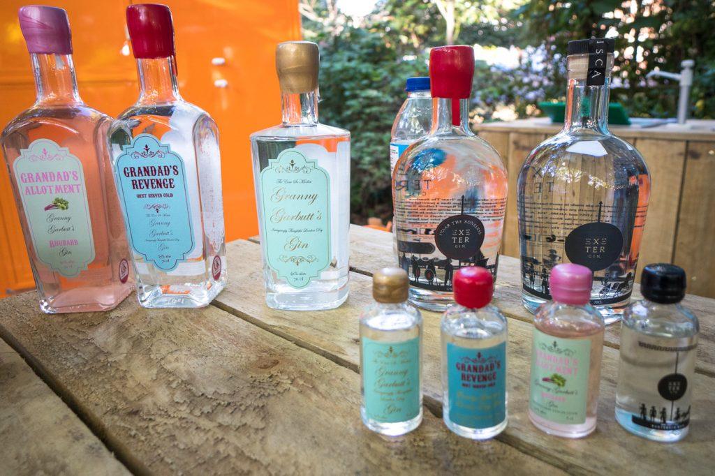 Bouteilles de gin de chez Exeter Gin