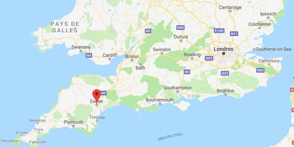Carte - Exeter / Angleterre / Royaume-Uni